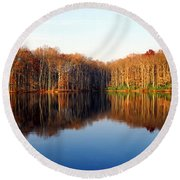 Mirror Lake Panoramic Round Beach Towel