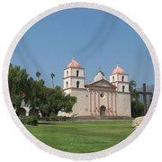 Mission Santa Barbara Round Beach Towel
