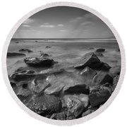 Misty Rocks Bw Round Beach Towel