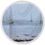 Misty Sails Upon The Water Round Beach Towel