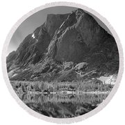 109644-bw-mitchell Peak, Wind Rivers Round Beach Towel