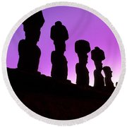 Moais Easter Island Chile Round Beach Towel
