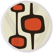 Mod Pod Two Orange With Brown Round Beach Towel
