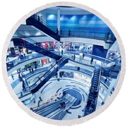 Modern Shopping Mall Interior Round Beach Towel