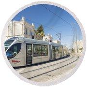 Modern Tram In Central Jerusalem Israel Round Beach Towel