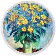 Monet's Jerusalem  Artichoke Flowers Round Beach Towel