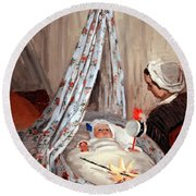 Monet's The Cradle -- Camille With Artist's Son Jean Round Beach Towel