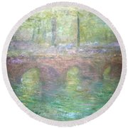 Monet's Waterloo Bridge In London At Dusk Round Beach Towel