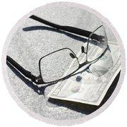 Money And Eyeglasses Round Beach Towel