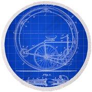 Monocycle Patent 1894 - Blue Round Beach Towel