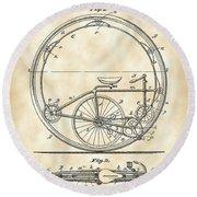 Monocycle Patent 1894 - Vintage Round Beach Towel
