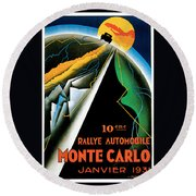 Monte Carlo Rallye Automobile Round Beach Towel