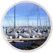 Monterey Harbor California Round Beach Towel