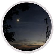 Moon And Stars In My Eyes Round Beach Towel