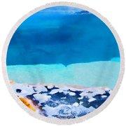 Moon On Earth 4 - Yellowstone Round Beach Towel