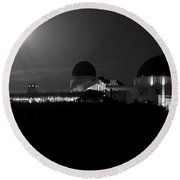 Moon Over Griffith Observatory Round Beach Towel