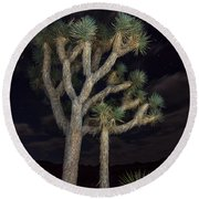 Moon Over Joshua - Joshua Tree National Park In California Round Beach Towel