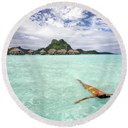Moorea Woman Floating Round Beach Towel