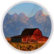 Mormon Row And The Grand Tetons  Round Beach Towel