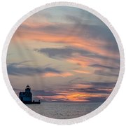 Blue Morning Whispers Round Beach Towel
