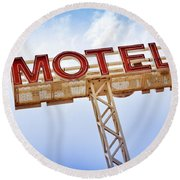 Motel Sign Round Beach Towel