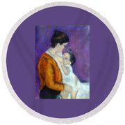 Mother And Baby Round Beach Towel