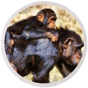 Mother Chimpanzee With Baby On Her Back Round Beach Towel