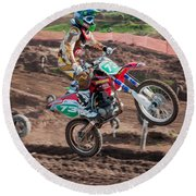 Motocross Rider Round Beach Towel