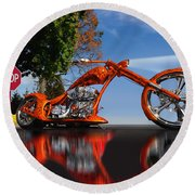 Motorcycle Reflections Round Beach Towel