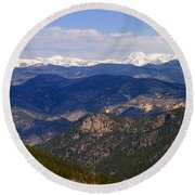 Mount Evans And Continental Divide Round Beach Towel