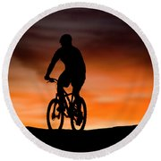 Mountain Biker At Sunset, Moab, Utah Round Beach Towel