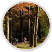 Mountain Bikers Ride In New Gloucester Round Beach Towel