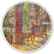 Mountain Lake Evening Round Beach Towel