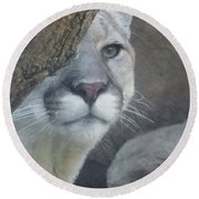 Mountain Lion Painterly Round Beach Towel