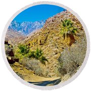 Mountain Peaks From Lower Palm Canyon Trail In Indian Canyons Near Palm Springs-california Round Beach Towel