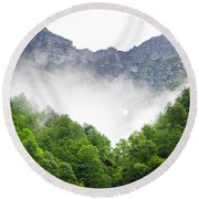 Mountain With Clouds Round Beach Towel