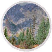 Mountains And Trees Round Beach Towel