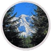 Mt. Rainier I Round Beach Towel
