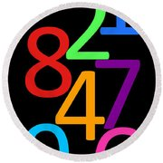 Multi-color Numbers Round Beach Towel