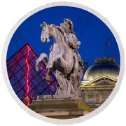 Musee Du Louvre Statue Round Beach Towel