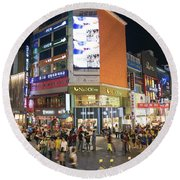 Myeongdong Shopping Street In Seoul South Korea Round Beach Towel