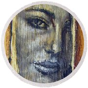 Mysterious Girl Face Portrait - Painting On The Wood Round Beach Towel