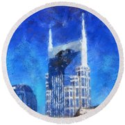 Nashville Skyline Round Beach Towel