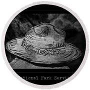 National Park Service Ranger Hat Black And White Round Beach Towel