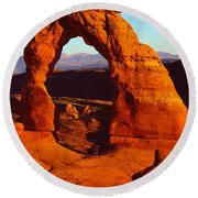 Natural Arch In A Desert, Delicate Round Beach Towel