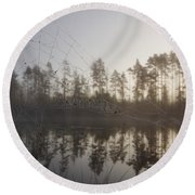 Natural Network Round Beach Towel
