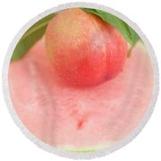 Nectarine With Leaves On Slice Of Watermelon Round Beach Towel