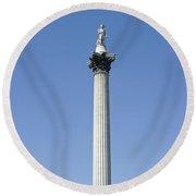 Nelsons Column Trafalgar Square London Round Beach Towel