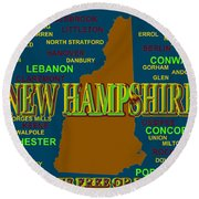 New Hampshire State Pride Map Silhouette  Round Beach Towel