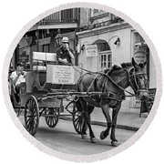New Orleans - Carriage Ride Bw Round Beach Towel